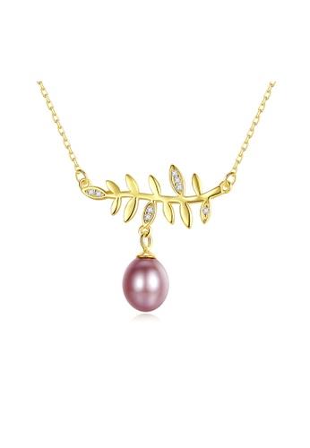 SUNRAIS gold Premium Color Stone Golden Leaf Necklace 62B93AC93204FCGS_1