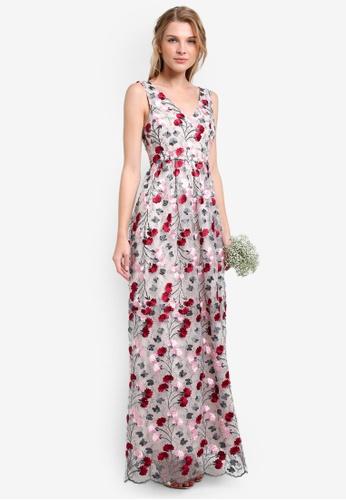 ZALORA multi Bridesmaid Floral Embroidered Maxi Dress E9715AA956390FGS_1