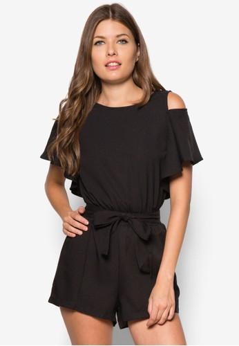 挖zalora時尚購物網的koumi koumi肩束腰連身褲, 服飾, 連身褲