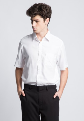 Van Heusen white VAN HEUSEN SHORT SLEEVES REGULAR FIT SHIRT 0A450AABF2DE89GS_1