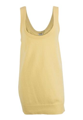 MIU MIU yellow Pre-Loved Miu Miu Yellow Cashmere Sleeveless Sweater With Ribbed Neckline and Hem 40054AAC626FACGS_1