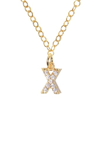 PSYNDROME gold Personalised Initial Letter Alphabet Cubic Zirconia Necklace - X 125A2AC999A542GS_1