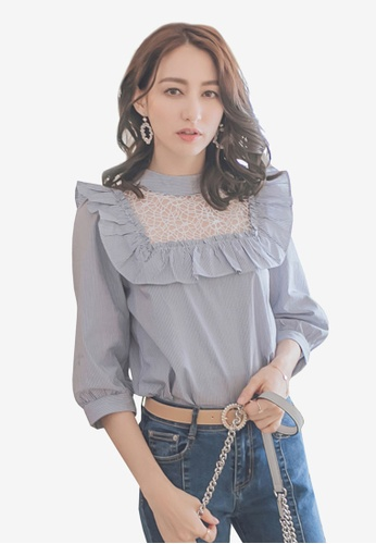 YOCO blue Lace Ruffle Puff Sleeves Top 060E9AAB832EF6GS_1