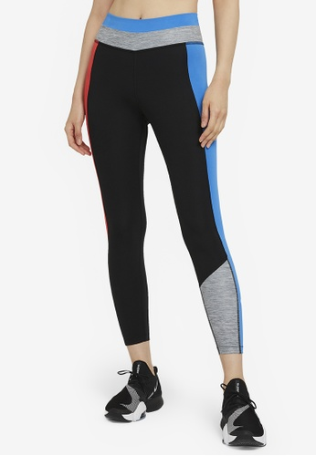Nike black and grey Women's One Color-Block 7/8 Tights A7E42AAF91AB83GS_1