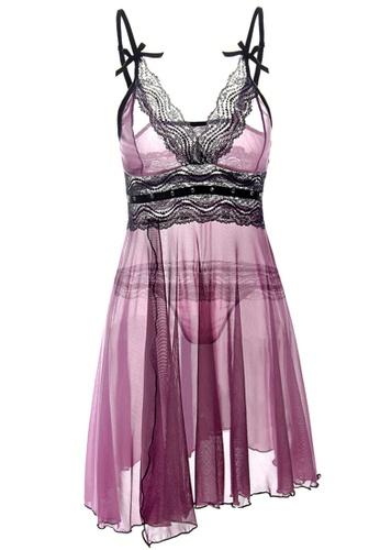 SMROCCO Paisley Plus Size Nightie Sleepwear PL8022 (Purple) 92EFCAA7035E00GS_1