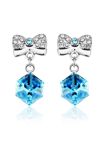OUXI blue OUXI Ribbon Box Earrings (Aquamarine) OU821AC35LSYMY_1