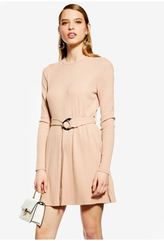 2ce104a54c6c TOPSHOP beige Petite Ribbed Belted Mini Dress AD91CAA2D6A6EFGS 1
