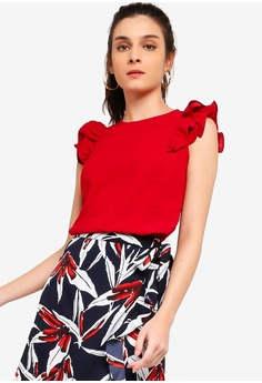 2b9d8ceaa92 ZALORA red Ruffles Shoulder Details Top B5273AAD91D2B6GS 1