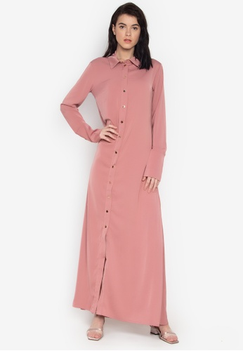 the___edit pink Vesper Long Sleeves Button Down Maxi Dress B2C16AAAF97E23GS_1