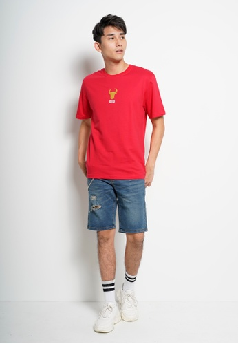 Hi Style red Men Short Sleeve Slogan Fashion Tee [Year Of Ox] 674F9AA7AA43BDGS_1