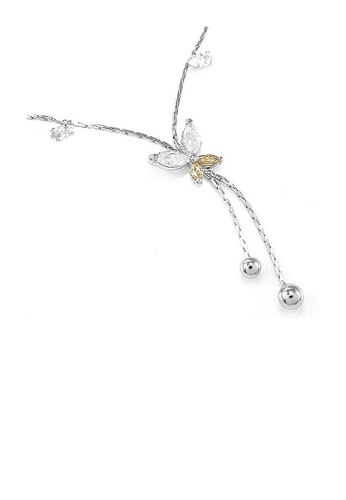 Glamorousky orange Elegant Butterfly Anklet with Silver and Orange Austrian Element Crystals A3B45ACF561480GS_1