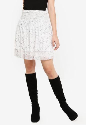 Max Studio white and multi Printed Mesh Ruffle Skirt 8FBC9AAD7C197CGS_1