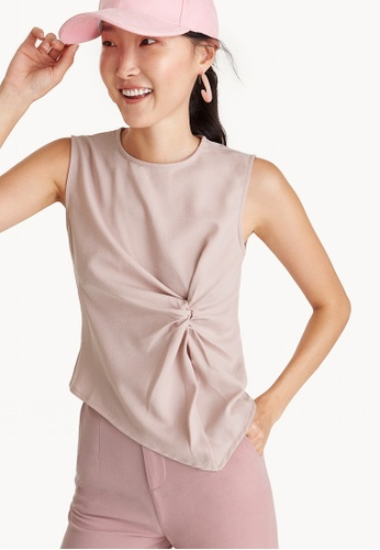 Pomelo pink Front Knot Sleeveless Top - Pink 22F4DAA4A8325CGS_1