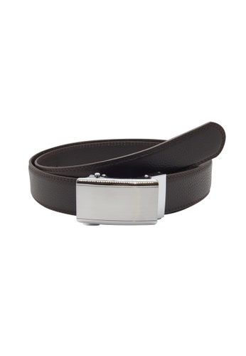 Oxhide brown Automatic Buckle Belt - Real Leather Ratchet Belt For Business / Evening Wear - ABB3D Brown Oxhide 88EDFACF734D04GS_1