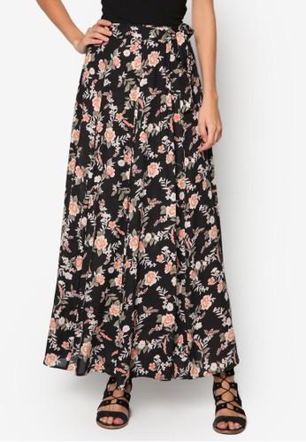 花色褶飾長裙,zalora開箱 服飾, 服飾