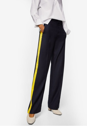 Mango blue Contrast Trim Trousers D340EAAE35E0E7GS_1