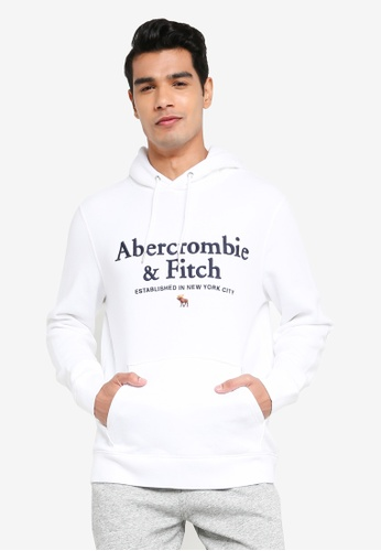 ABERCROMBIE & FITCH white Logocon Pullover Sweatshirt C8A78AA09302DCGS_1