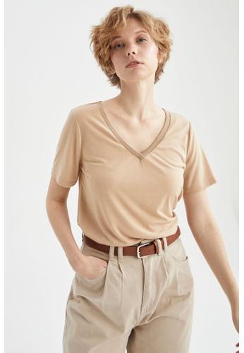 DeFacto brown Short Sleeve V-Neck T-Shirt 78580AAD0ADE5EGS_1