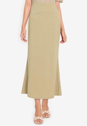 ZALORA WORK brown Fishtail Hem Knitted Skirt F7954AA319CD75GS_1