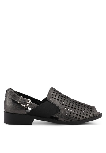 Noveni black Perforated Sandals E654CSHAAE7C37GS_1