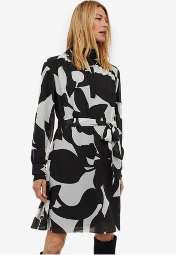 H&M black and multi Chiffon Dress 1ED8AAA9DB64C1GS_1