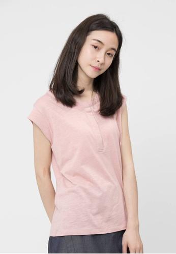 a3f2b7e3aa8ba so that s me pink Henley and Cap Sleeve Slub Cotton Pink T-shirt  78A84AAA57FE8FGS 1