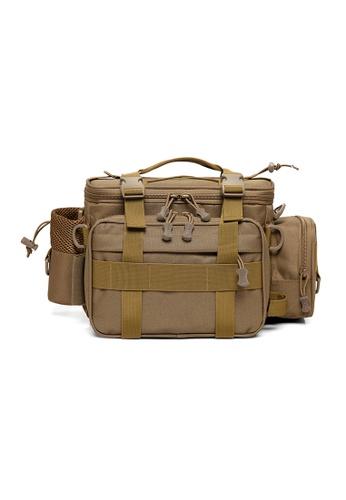 Lara 褐色 男士戶外運動耐磨腰包單肩包 - 棕色 839CCAC235FDEEGS_1