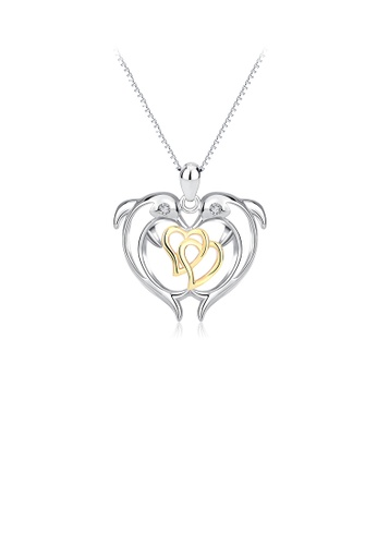 Glamorousky white 925 Sterling Silver Fashion Cute Double Dolphin Heart Pendant with Cubic Zirconia and Necklace 5E3AAAC5D68499GS_1