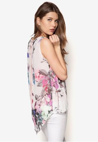 不對稱下擺花卉層疊上衣, 服zalora 鞋評價飾, 上衣