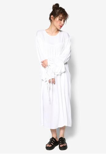 韓時尚束口寬袖口寬擺連身長裙, 服飾esprit taiwan, 洋裝