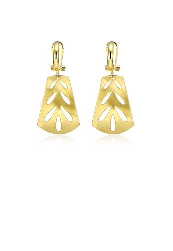 Glamorousky silver Fashion Elegant Plated Gold Cutout Geometric Earrings A52F3AC536E55FGS_1