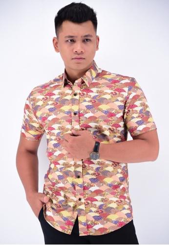 UA BOUTIQUE orange Short Sleeve Shirt Batik UASSB45-101 (Orange) E6C11AA7F66811GS_1