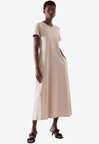 COS beige Elasticated T-Shirt Dress 16C21AA38E69D3GS_1