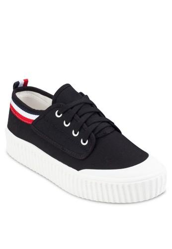 撞色條紋帶繫帶厚底休閒鞋,esprit鞋子 女鞋, 鞋