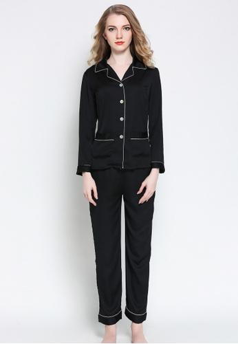 SMROCCO black Silk Like Long Sleeve Long Pants Pyjamas Set L8009 (Black) 368A8AA7F91E75GS_1