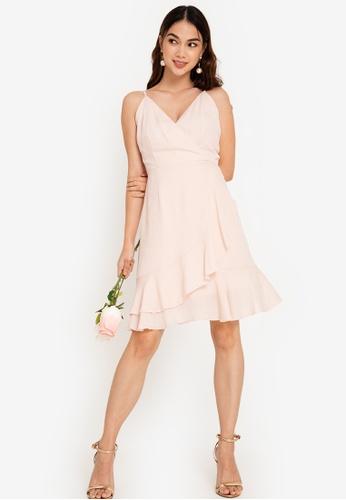 ZALORA OCCASION 粉紅色 伴娘交叉細肩帶短洋裝 65D3BAA64AE24FGS_1