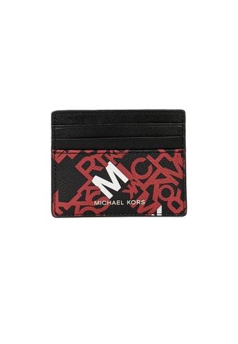 Michael Kors black and red Michael Kors Cooper Tall Card Case Crimson Black 36F0TCOD2R 25E30AC18903DAGS_1