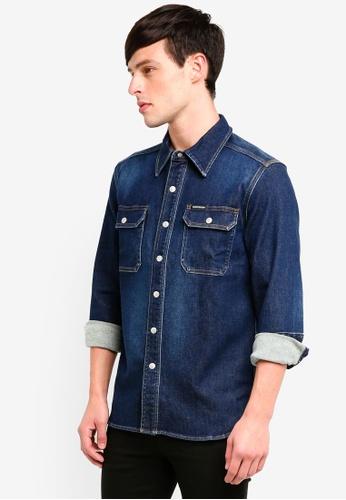 Calvin Klein 藍色 牛仔襯衫外套 6BBA0AAC47A014GS_1