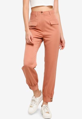 ZALORA BASICS brown Cuff Hem Trousers B098FAA62FDDE4GS_1