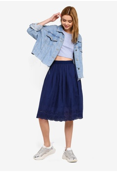 1b71625c168f 38% OFF Something Borrowed Cotton Embroidered Midi Skirt S$ 39.90 NOW S$  24.90 Sizes XS S M L XL