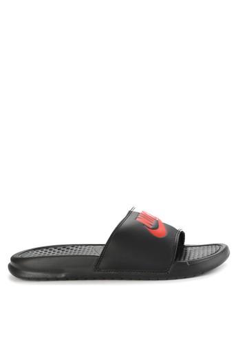 "Nike black and multi Men's Nike Benassi ""Just Do It."" Sandals NI126SH0WCKGID_1"
