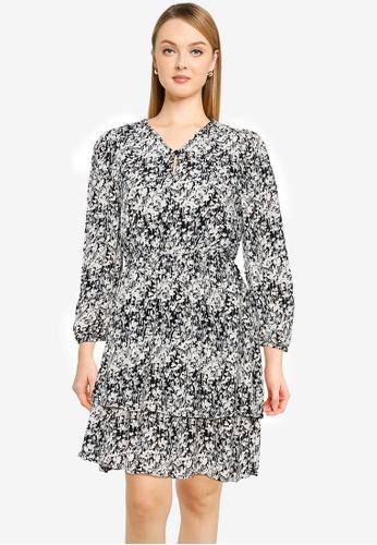 Vero Moda black Chello V-neck Frill Dress 6FABAAA6A85E9BGS_1
