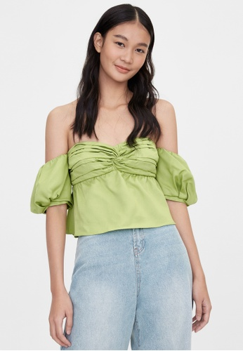Pomelo green Purpose Knot Detail Off Shoulder Top - Green 9D680AA3462EE2GS_1
