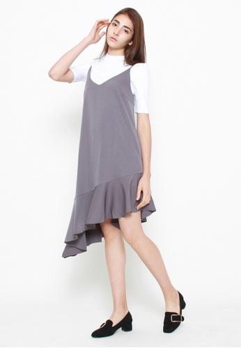 QLOTHE grey Celeste Pinafore Dress 2D162AA1E75C16GS_1