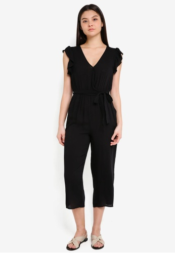 Cotton On black Woven Frankie V-Neck Culotte Jumpsuit 28EE4AAA3800F2GS_1