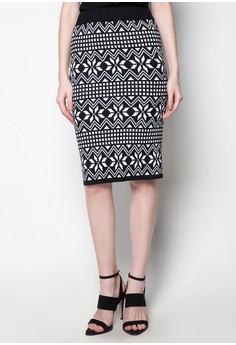 Midi Knitted Skirt Zigzag Printed Design