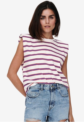 ONLY white Jen Life Sleeveless Stripe Top 1AA56AA443A6BDGS_1