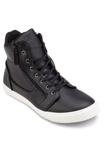 側拉鍊仿皮高筒休閒鞋, 鞋zalora時尚購物網的koumi koumi, 休閒鞋