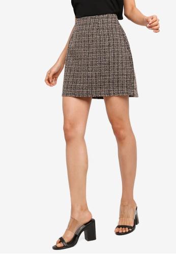 7e42d4bcc ZALORA black and beige Tweed Mini Skirt E48D0AA7B8A5E7GS_1