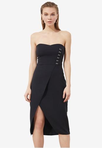 Trendyol black Strapless Side Detail Dress 3F967AAEB6F708GS_1